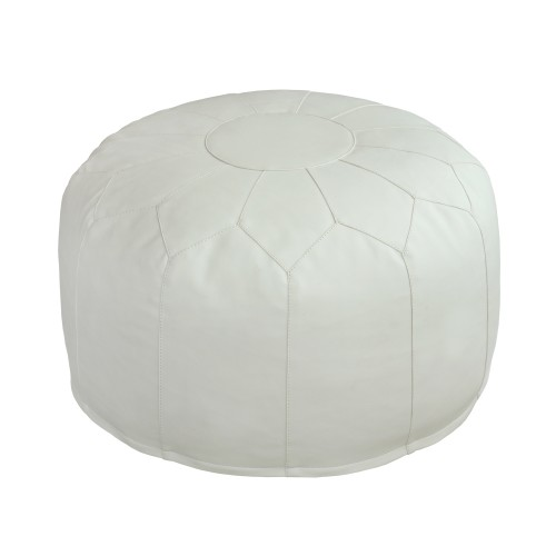 Leather Pouf (White)