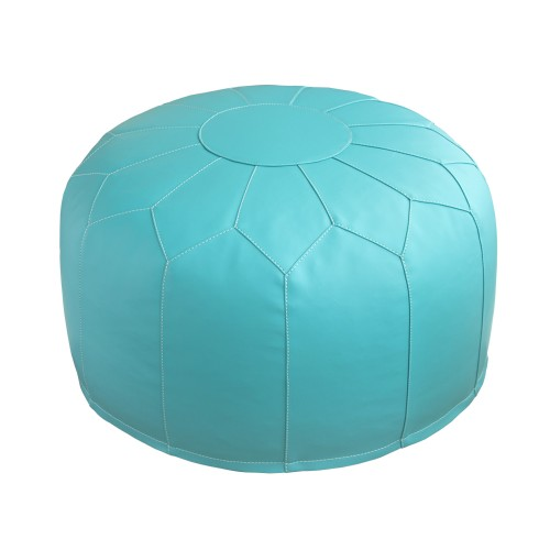 Leather Pouf (Aqua)