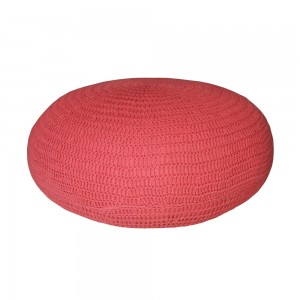 Cord Knit Pouf (Red)