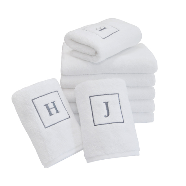 Initial Face Towel - Grey