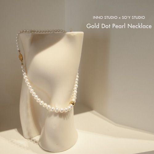 Gold Dot Pearl Necklace